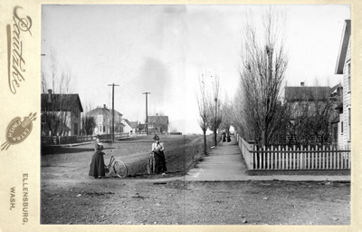 sidewalk scene from Ellensburg's early days